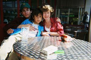 Aunt Nooshk with Andrew & Robert in England