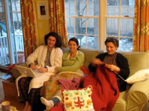 Andrew, Florentina and I cozy inside and the cold snow outside