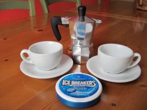 Andrew's Coffeemaker, Espresso Cups and Ice Breakers