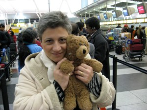 """Bruno and me at the airport on our way to India - Feb. 2, 2008"""