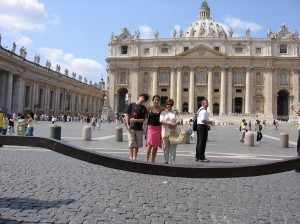 """Andrew, Robert, Florentina and I in St. Peter's Square - Rome 2005"