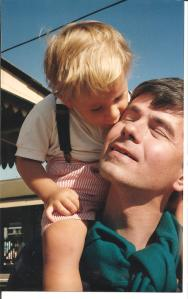 "Little-blond ""Andrew"" with his adoring father"