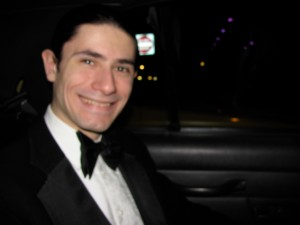 "In the back of taxi on the way to the ball, posing for his sister's camera - ""Andrew"" - October 22, 2009"