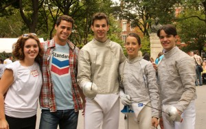 """Fencing Masters"" representatives. From Left to right: Kathleen Reckling, Kurt Getz, Tim Morehouse, Daria Schneider, and Melvin Rodriguez."