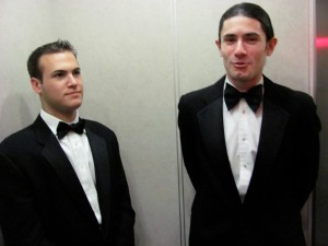 """""""Andrew"""" and his room-mate and RA, Zack, in the elevator - October 22, 2009"""