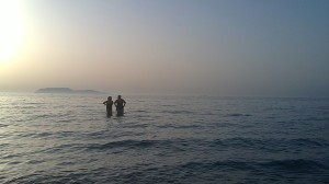 """August 2010 - With one of my oldest friends in """"Marausa, Sicily. The Island of Levanzo"""" can be seen in the background"""
