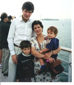 "August 1997 Coming back to NY on the ""QE2"" from a summer England - My husband and I with Little Robert and little Andrew - Florentina is behind the camera"