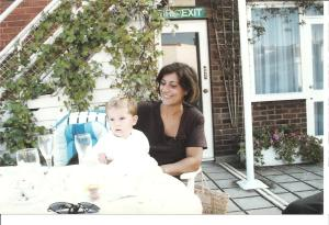 "St. James', London - Little Andrew and I on ""the roof garden of Dukes Hotel"""