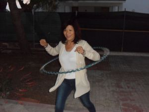 """Casa Om Retreat - Dr. Weng"" giving my hula hoop a great spin"