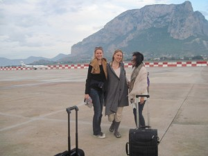 """May 21, 2011 - Just landed - """"Palermo airport"""". Benedicte, Lisa, Dr. Weng and me behind the camera, but on the tarmac neverthless"""