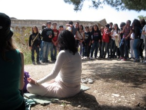 "School children watching us ""chanting in Segesta"""